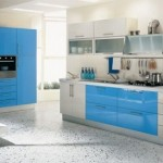 bucatarie mobila moderna alb si bleu