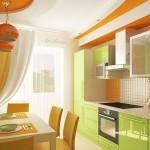 bucatarie moderna decorata in vernil si portocaliu