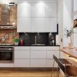 bucatarie moderna minimalista perete decorat cu caramida mobila alba