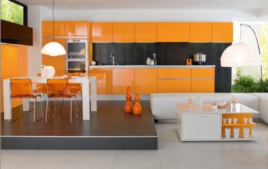 bucatarie moderna portocaliu negru