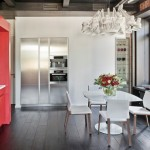 bucatarie moderna stil loft perete decor caramida