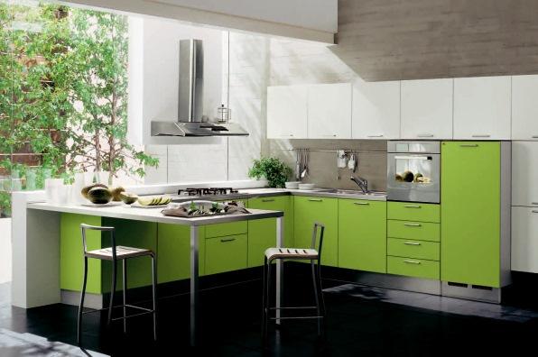 bucatarie moderna verde alb