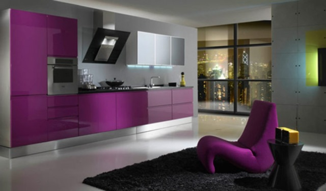 bucatarie mov gri design modern