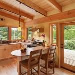 bucatarie open space decor lemn bar pentru loc de luat masa
