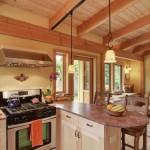 bucatarie open space vedere spre living casa mica lemn