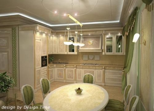 bucatarie stil clasic verde si auriu