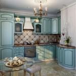 bucatarie traditionala mobila din lemn masiv culoare albastra