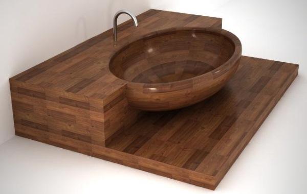 cada lemn baie