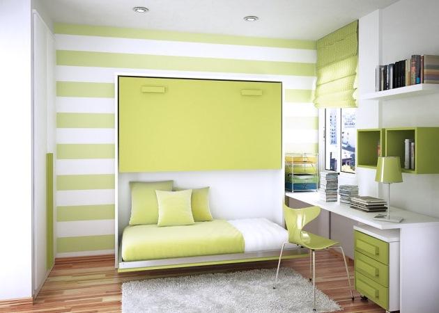 camera copil mobila alba pereti culoare verde
