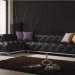 canapea coltar culoare neagra din piele design modern