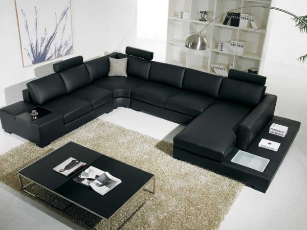 canapea coltar piele neagra moderna