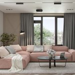 canapea coltar roz pudrat decor living apartament 69 mp