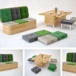 Canapeaua care se transforma in set de masa si scaune