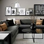 canapea neagra design modern living minimalist pereti gri