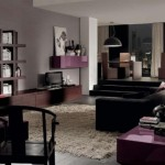 canapea neagra interior living modern decorat in gri maro si mov