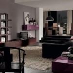 canapea neagra interior living modern decorat in gri maro si mov