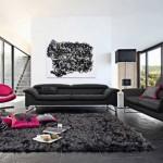 canapea neagra living modern alb si negru