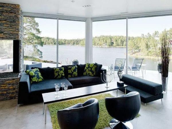 canapea neagra moderna living decorat cu piatra naturala