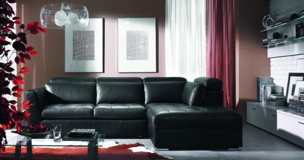 canapea neagra piele design modern