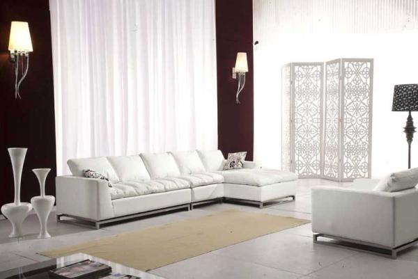 canapea piele alba living minimalist