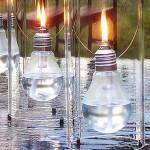 candele decorative handmade din becuri arse