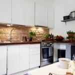 caramida decor perete blat de lucru din bucatarie moderna cu accente vintage