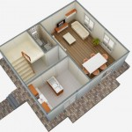 casa 3 plan parter 3d