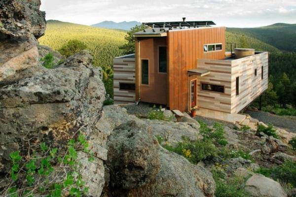casa modulara containere exterior lambriu lemn