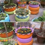 cauciucuri vechi transformate in ghivece si jardiniere decorative de gradina