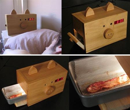 ceas desteptator cu bacon prajit