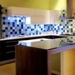 combinatie faianta alb albastru bleu bucatarie moderna wenge