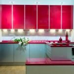combinatie moderna mobila bucatarie bleu si rosu