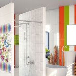 combinatii faianta alba vernil si portocalie decor baie moderna minimalista