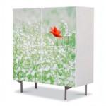 comoda cu 4 usi Art Work mac in camp cu flori albe