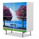 comoda cu 4 usi Art Work peisaj cu doi copaci pe malul unui lac