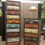 comoda sertare vintage confectionata din geamantane si valize vechi