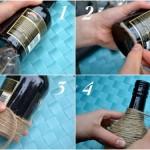 confectionare vaza handmade din sticla goala si sfoara