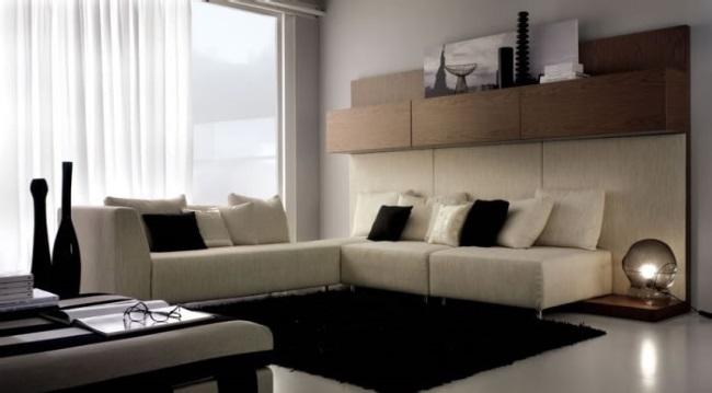 covor negru contrast living modern amenajat in alb si bej