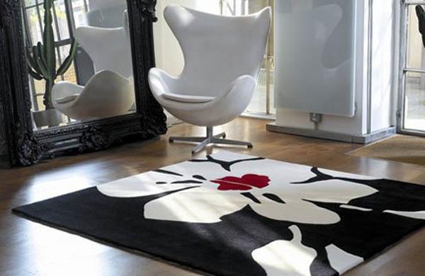 covor negru cu alb decor living modern minimalist