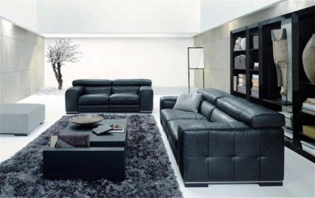 covor negru shaggy decor living modern mare canapele piele