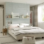 covorase tesute din bumbac si raft decorativ deasupra patului decor dormitor mic
