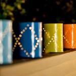cutii conserve vopsite si gaurite pentru iluminat decorativ exterior