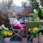 decor balcon cu flori de primavara
