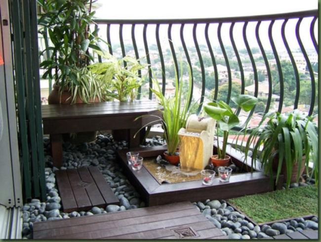 decor balcon mic gradina minimalista japoneza
