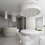 decor bucatarie ultramoderna minimalista piese mobilier si decoratiuni circulare tendinte 2014