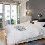 decor dormitor perete de accent culoare gri