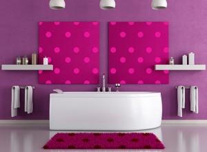 decor imprimeu buline perete baie moderna
