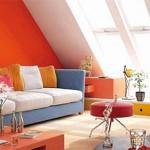 decor living modern portocaliu