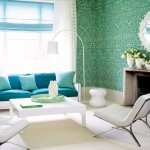 decor living retro bleu albastru si alb