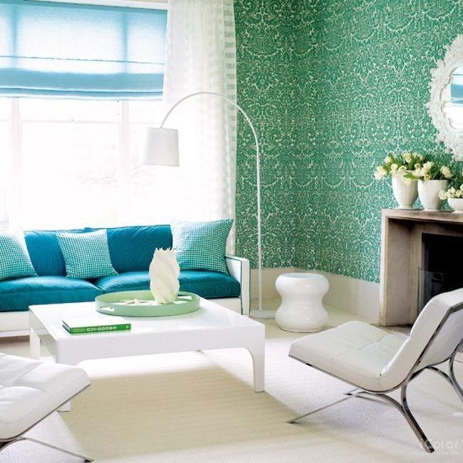 decor living retro bleu albastru si alb